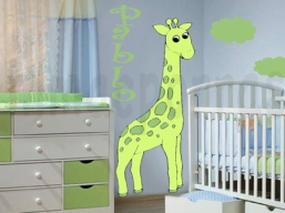 cuarto azul con jirafa .marca agua