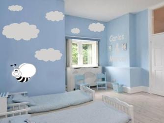 cuarto niños azul con nubes