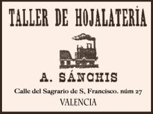 cartel antiguo taller hojalata anaranjado