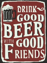 cartel antiguo beer & friends
