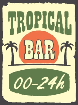 cartel antiguo tropical bar